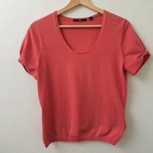 Hugo Boss coral scoop-neck knit short sleeve top